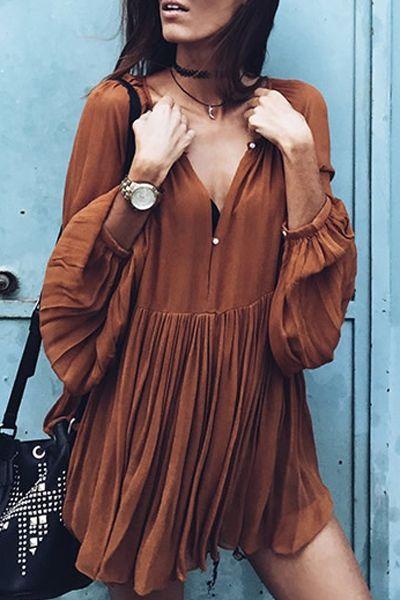 Solid Color Loose Fitting V-Neck Long Sleeves Dress KHAKI: Long Sleeve Dresses | ZAFUL
