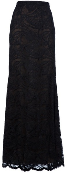 Black silk maxi skirt from Emilio Pucci featuring a high waist, flared shape and lace over lay.