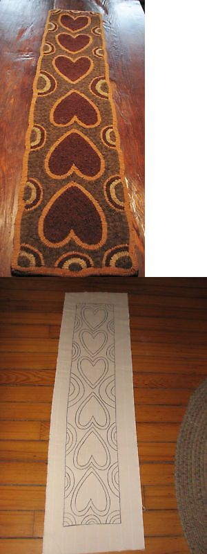 Primitive Hooking Patterns 157031: Primitive Hooked Rug Pattern On Linen Hearts Abound -> BUY IT NOW ONLY: $64 on eBay!