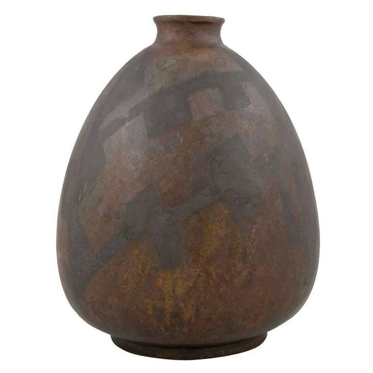 Popular An Art Deco tear drop shape Paris Art metal vase with turned rim Marked