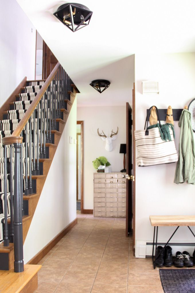 Our Black Painted Staircase, Painted Oak Stairs, How to Paint a Staircase, Painting Stairs, Stairs with Rug Runner, Install a Carpet Runner on Stairs