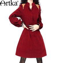 Artka ретро женская осеняя одежда стоячем воротником с длиным рукавом темно-красное удобное облегающее высококачественное элегантное платье LA10139Q 11.11(China (Mainland))