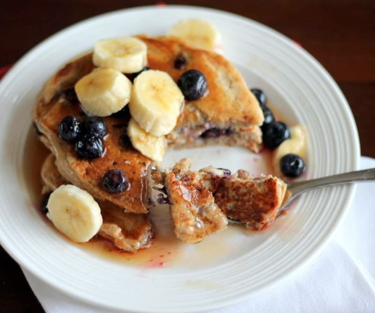 One serving size (3-4 pancakes) includes 20.2 grams of protein. Get the recipe here, via Ambitious Kitchen.