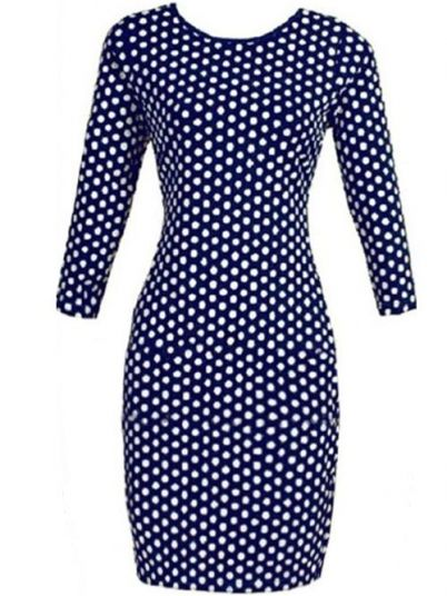 Blue Polka Sheath Dot Bodycon Dresses
