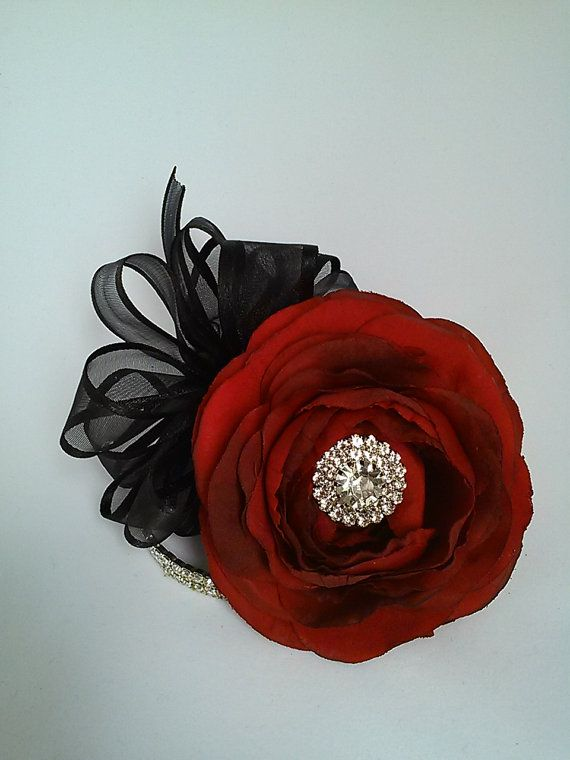 Red Wrist Corsage-Rhinestone Wrist by BecauseOfLoveFloral on Etsy