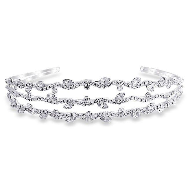 Bling Jewelry Triple Row of Crystal Leaf Gatsby Inspired Bridal Tiara Headband