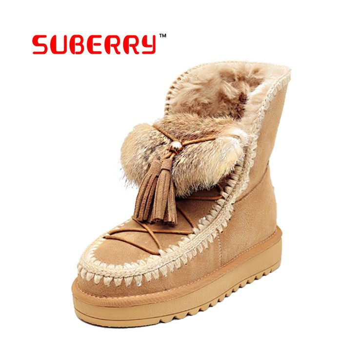 SUBERRY High Quality! Genuine Geather Real Fur 100% Wool Women Winter Snow Boots Easy Wear Rabbit Hair Elastic Band Boots Shoes