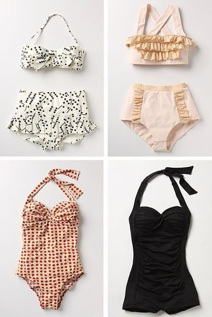 Pin-up. Don't know where these came from but really cool similar styles at http://www.pinupgirlclothing.com/swimwear.html?p=1