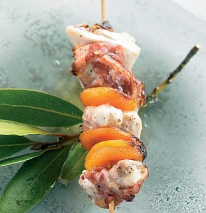 BRAAI: Grilled chicken, pancetta and dried apricot skewer