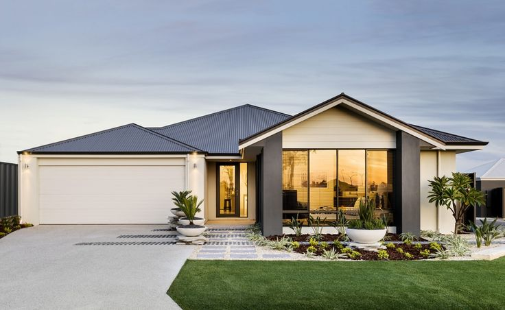 Striking elevation with feature gable planking rendered for Colorbond home designs