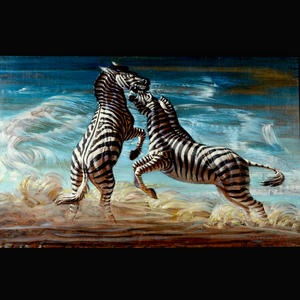 Vladimir Griegorovich Tretchikoff (South African, 1913-2006) Fighting zebras