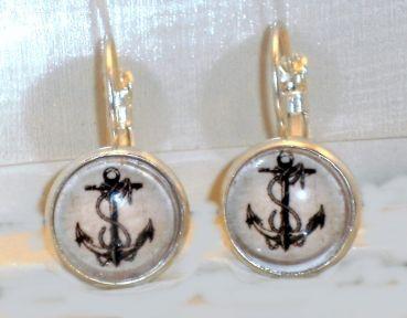 Ohrringe Anker Damen Ohrschmuck Hänger Modeschmuck Glas Cabochon Neuware