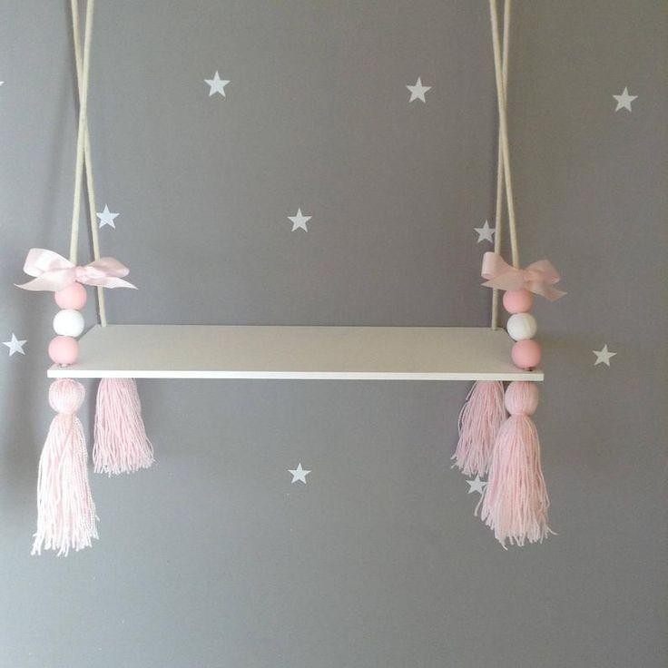 Hanging shelf tassel shelf floating shelf Nordic style shelf Nursery decor Nursery shelf girls shelf girls room decor Nursery ideas