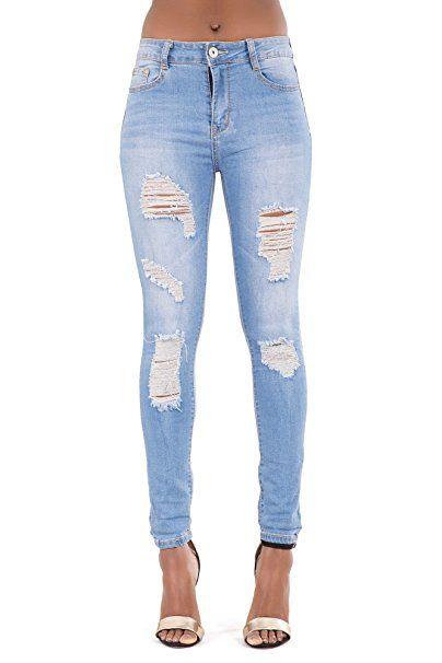 40e1cc4eada973 Frauen Sexy Mid Taillierte Hellblaue Enge Jeans mit Destroyed-Effekten-EU34  - Jeanshose frauen