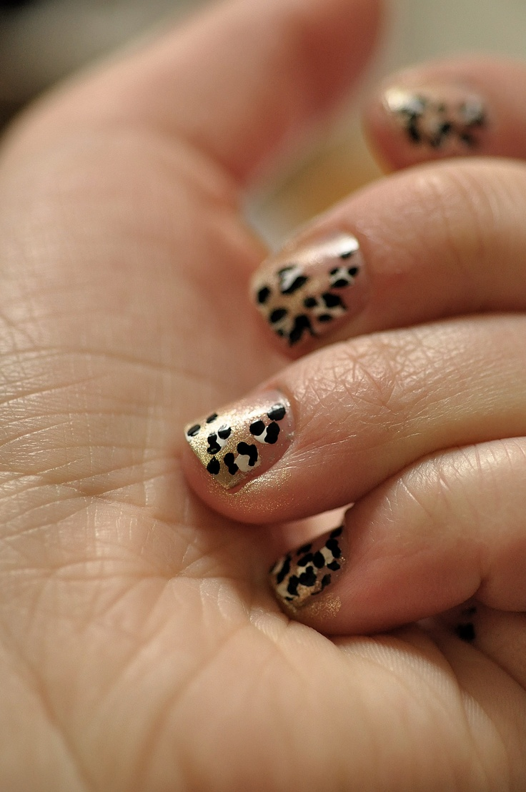 Leopard and gold ombre <3
