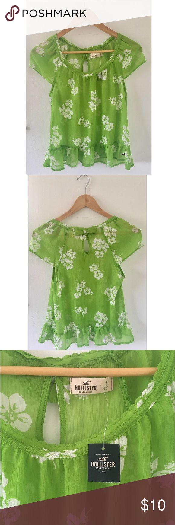 Hollister Lime Green Floral Sheer Short Sleeve Top Hollister Lime Green Floral Sheer Short Sleeve Peasant Blouse with small bow on the back. NWT Adorable with jeans or shorts. Size Small 🌻 Hollister Tops Blouses