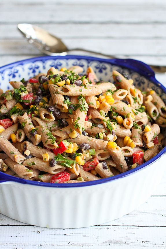 Whip up this healthy southwestern whole wheat pasta salad for your next barbecue. It gets its flavor from black beans, corn and an easy yogurt salsa dressing.