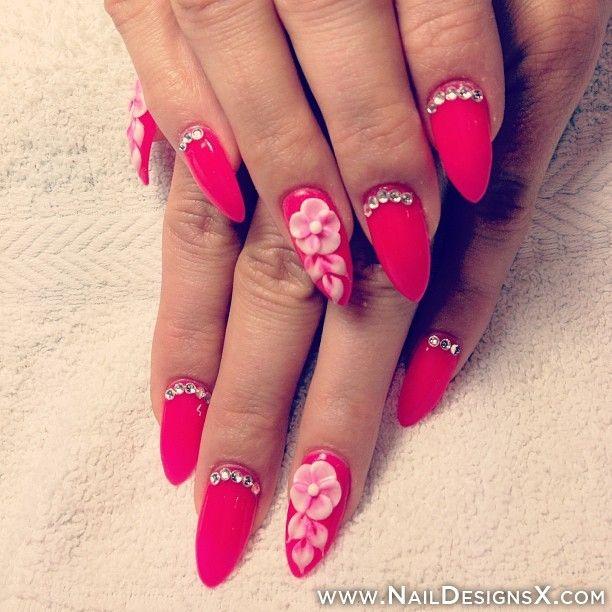 hot pink summer nail art
