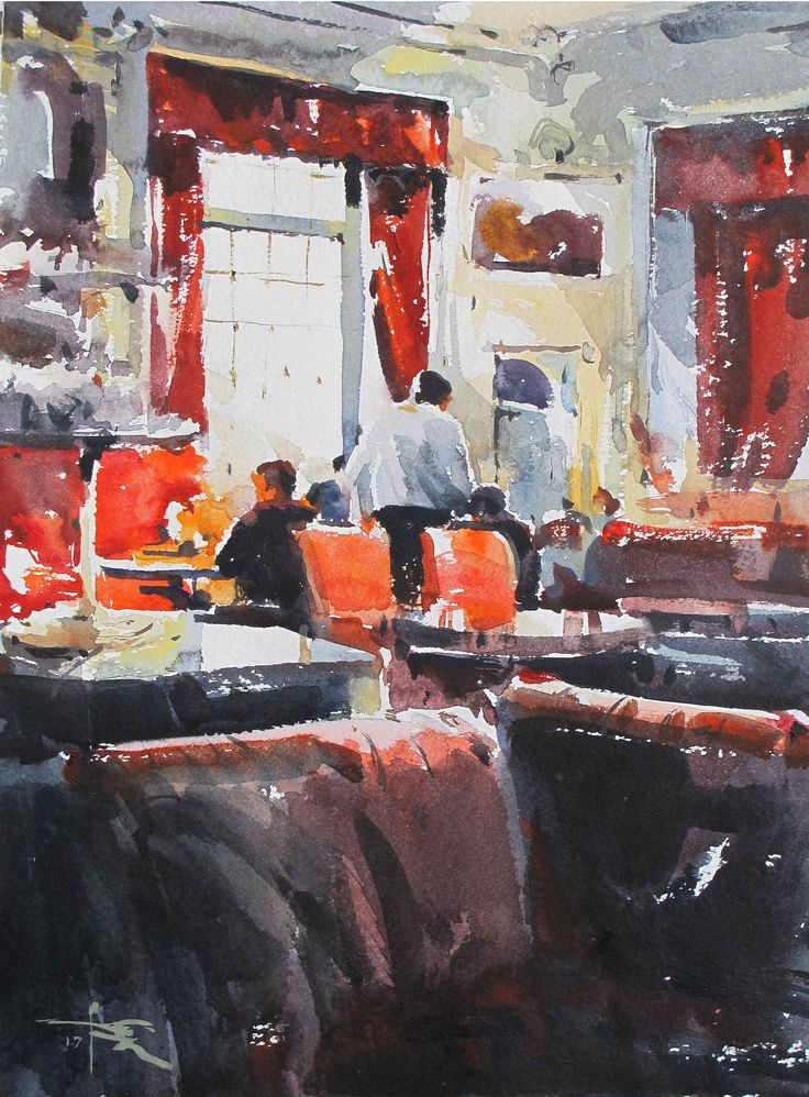 https://flic.kr/p/QEkzAa | Interior _Cafe by tony belobrajdic | watercolour 330 x 450 mm
