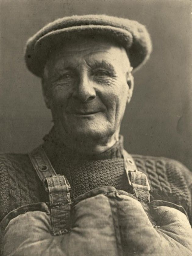 A portrait of celebrated Cromer lifeboatman Henry Blogg by Olive Edis.