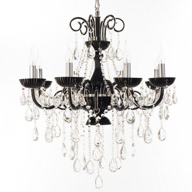 #chandelier #design #lysekroner #lamper #interior #lamps #lamp #interiør #butikk #nettbutikk Sort Lysekrone, Klare krystaller. Victoria åtte armer Straale®  | Lamper & Lysekrone på nett - Lunelamper | Nettbutikk
