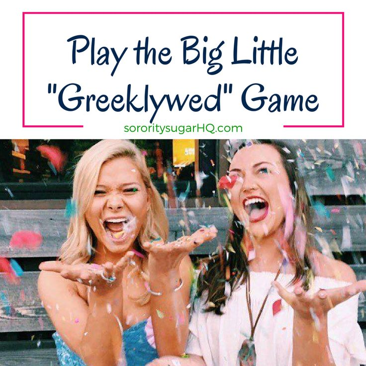"Play the Big/Little ""GREEKLYWED"" Game! Inspired by the classic Newlywed Game TV show, this game is lots of fun for big/little events, sisterhood socials, chapter retreats and Greek Week. Host your own Greeklywed Game with sorority sugar's guide to playing and 100 creative questions for bigs and littles!! https://sororitysugarhq.com/home/2017/3/22/play-the-big-little-greeklywed-game"