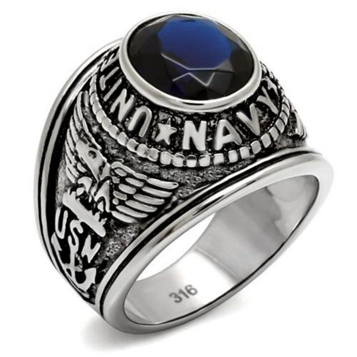 * 2017 Militare maschile anello di barretta Marina Degli Stati Uniti esercito degli uomini dell'acciaio inossidabile anello Contro effetto vetro Sintetico stone Free libero