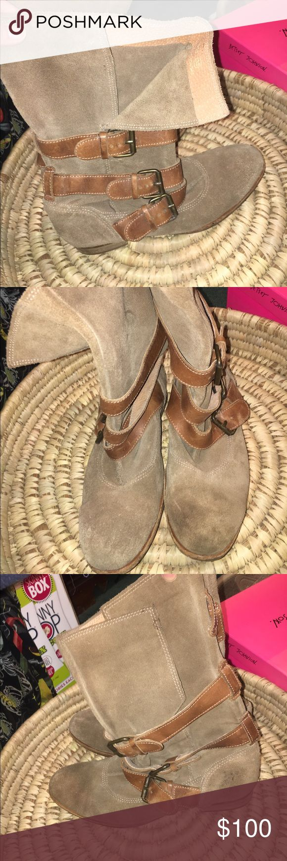 Tan Hudson Boots Suede tan leather boots H By Hudson Shoes Combat & Moto Boots