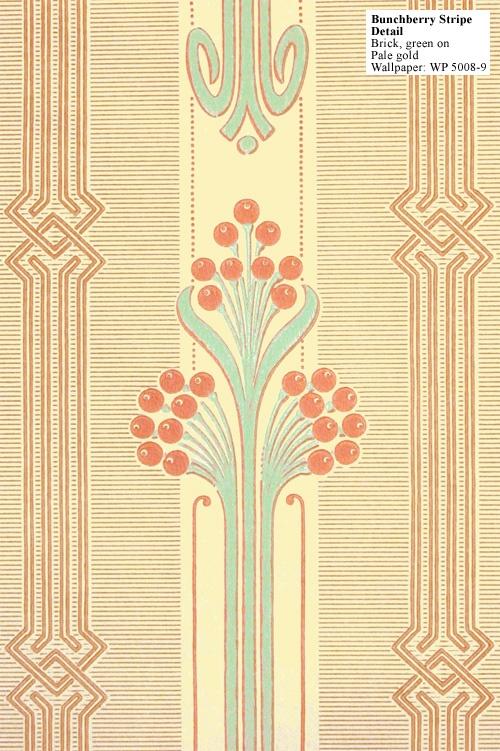 A pretty Art Deco Reproduction wallpaper - bunchberry stripe.