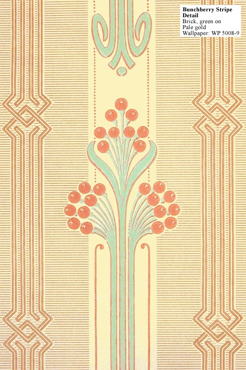 A pretty Art Deco Reproduction wallpaper - bunchberry stripe.
