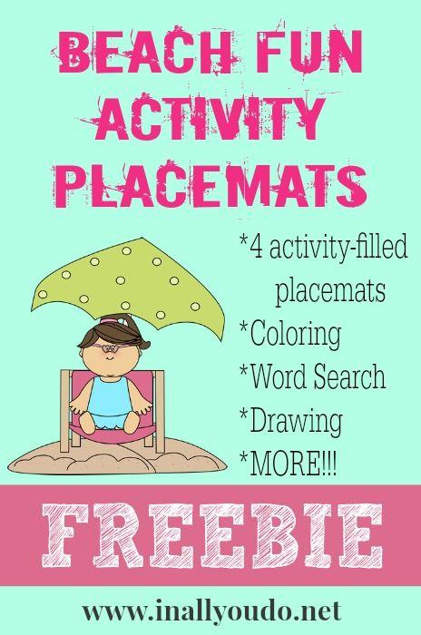 Beach Fun Activity Placemats FREEBIE