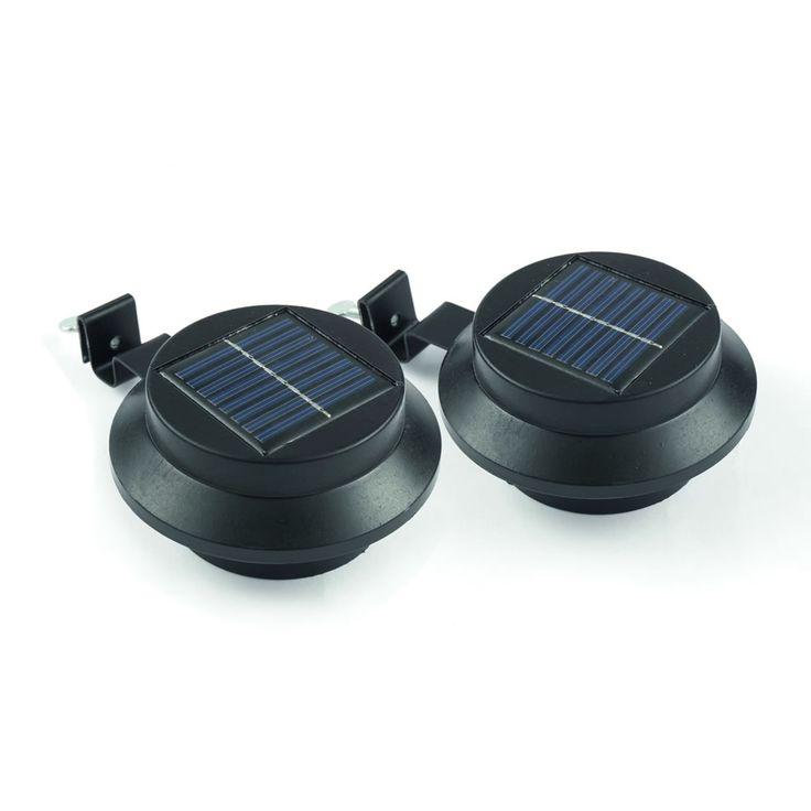 Solar Gutter Lights Black Set Of 2 Solar Patio Lights Outdoor Solar Lights Solar Security Light