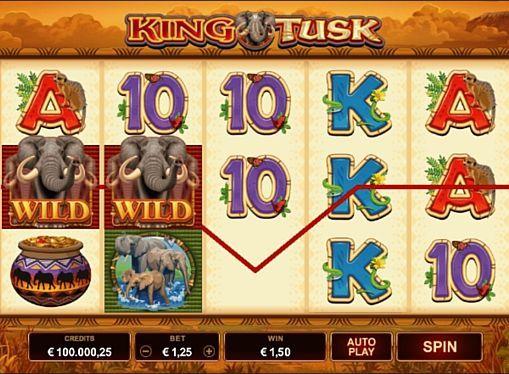 King Tusk в онлайн казино с выводом денег  Онлайн игра King Tusk посвящена тематике животных, которую часто можно встретить в лучших казино. Здесь вас ждёт 5 барабанов, 25 линий и специальные символы. Фриспины с разными бонусами помогут моментально вывести крупную сумму денег.