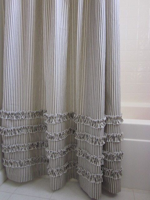 Vintage Ticking Stripe Shower Curtain with Ruffles - 72x72 IN STOCK Black, Gray, Navy, Brown, other colors and sizes available MTO by ModernFolkShop on Etsy https://www.etsy.com/listing/166131337/vintage-ticking-stripe-shower-curtain