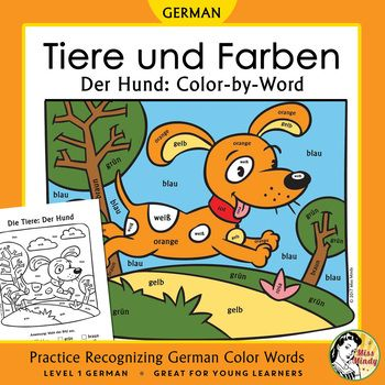 Help beginning German students learn animal words and recognize written German color names using this adorable coloring worksheet. This coloring sheet features a German animal word (Der Hund) and 8 German color words. I created color-by-word coloring worksheets for my younger students who know their colors 'by ear' but are having trouble recognizing written German color names.