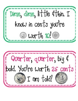 Here's a set of coin poem cards with values to 25 cents.