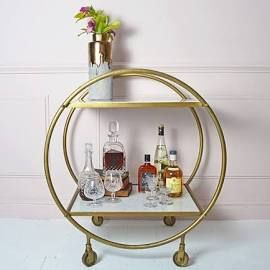 Round Brass and Marble Drinks Trolley