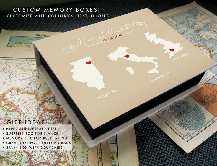 Anniversary Surprise Box, Travel Box, Paper Anniversary Gift, Custom travel box, Destination wedding box, Under 100, Valentines Gift Box by TexturedINK on Etsy