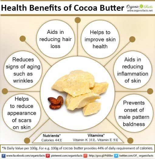 Some of the most important health benefits of cocoa butter include its ability to improve skin health, boost the immune system, increase hair quality, prevent signs of aging, and reduce inflammation.