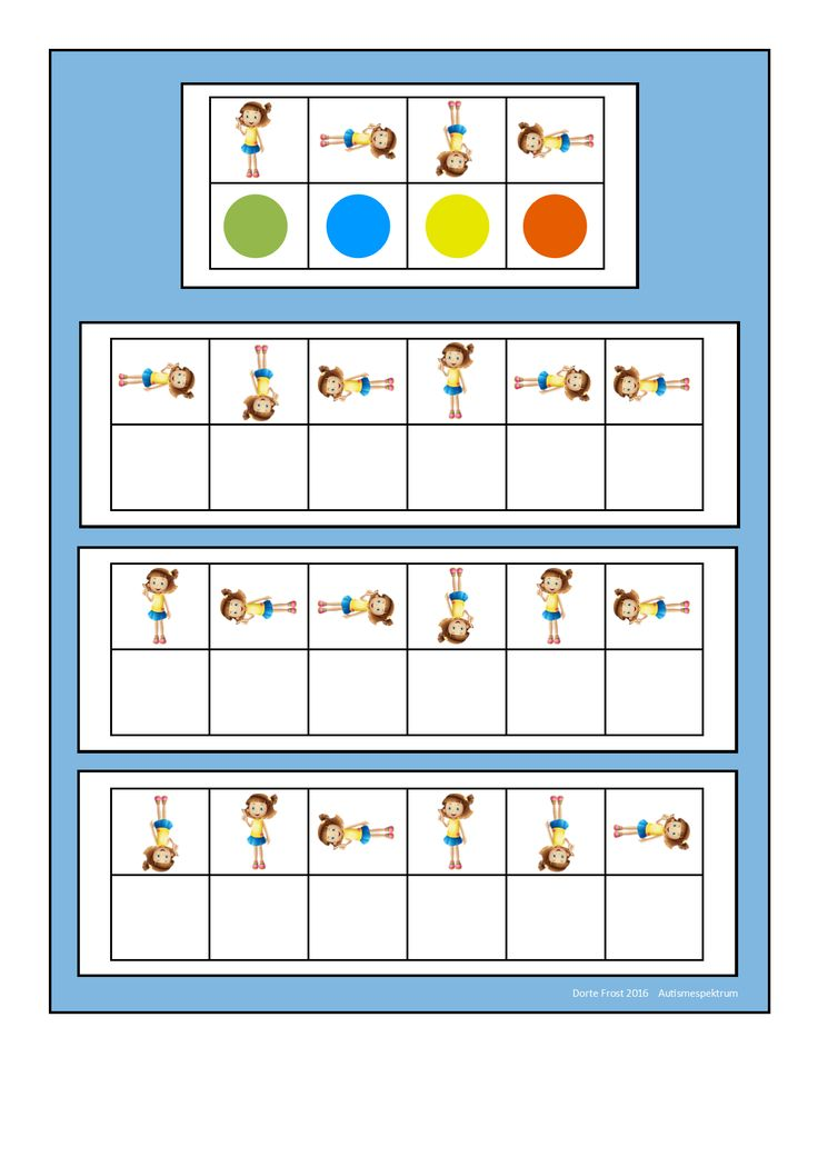 Board for the rotating girl visual perception game. Find the belonging tiles on Autismespektrum on Pinterest. By Autismespektrum