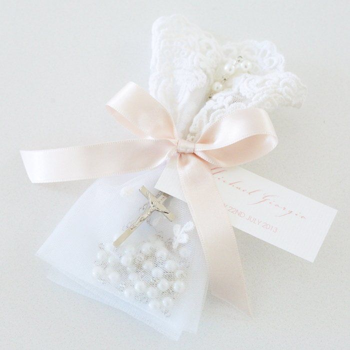 Blush Lace Bag Rosary Beads Christening Bomboniereg