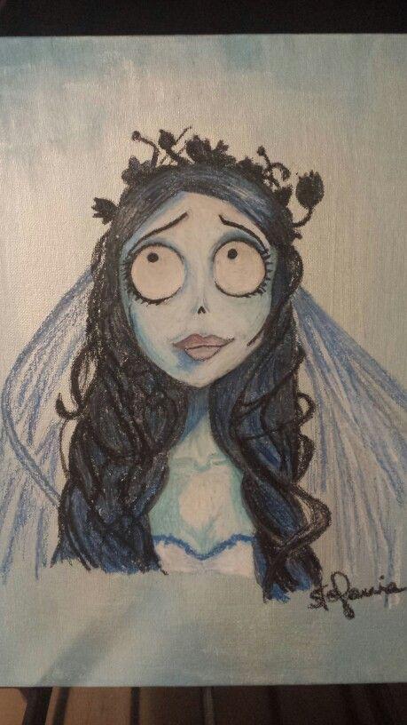 Emily - Sposa Cadavere. Disegno con pastelli a cera.