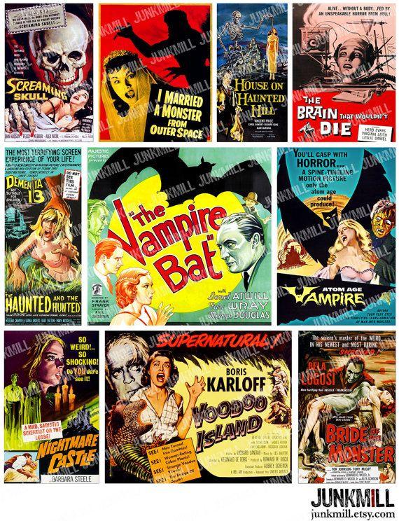 RETRO HORROR - Digital Printable Collage Sheet - Vintage B-Movie Posters, Pulp Film Art, Halloween Cult Classics, Instant Download