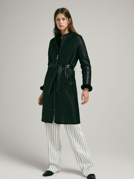 6c21ab4257bb REVERSIBLE MOUTON COAT WITH BELT - Women - Massimo Dutti | Massimo ...