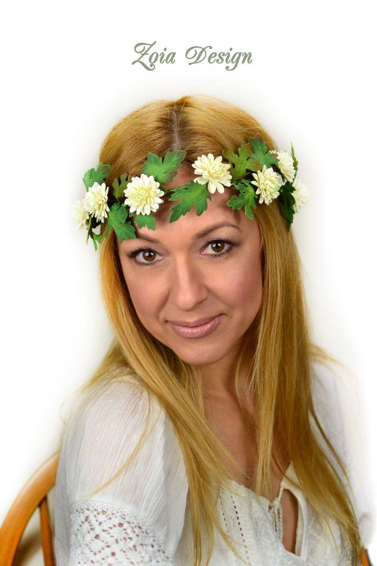 Bridal flower wreath, flower crown, hair crown chrysanthemum, wedding wreath, hair band flowers, marguerite hair crown, hair jewelry flowers von ZoiaDesign auf Etsy