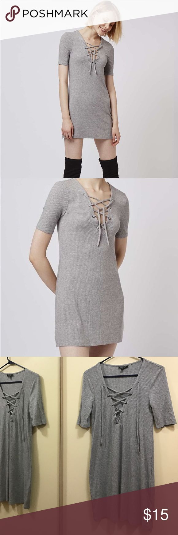 SALE Topshop Lace Up Tunic Dress Super soft dress in ribbed gray material. Perfect condition - only worn once!! Lower tag removed. Smoke/pet free home. Moving soon so need to purge closet!! Make an offer 💕 Topshop Dresses Mini