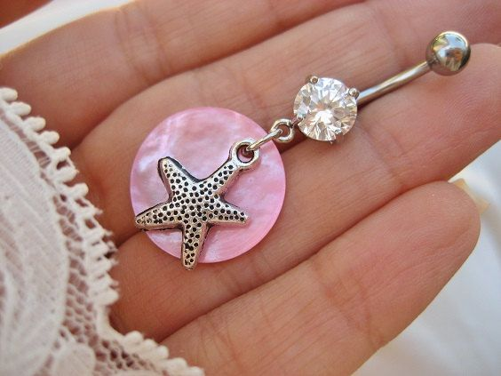 Starfish Belly Button Jewelry- Ring Sea Shell Star Fish Sand Dollar Navel Piercing Charm Pink Seashell Dangle Bar Barbell