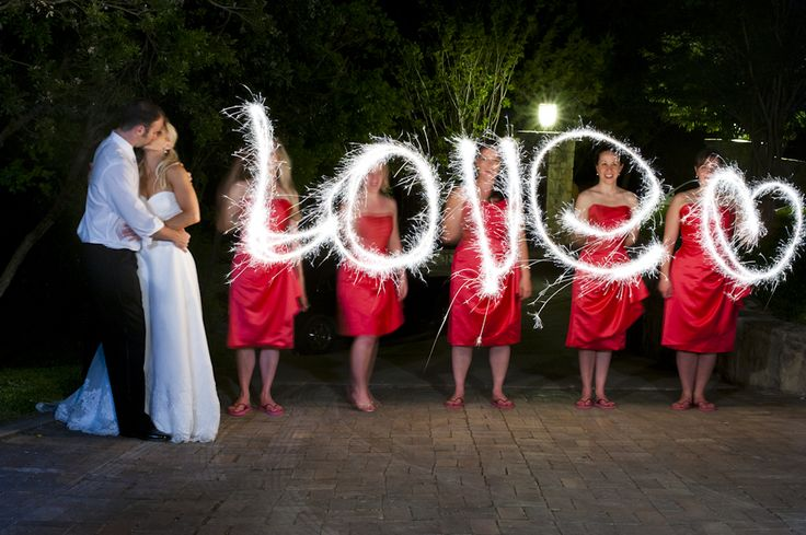 """Sparkling Ideas for Your Wedding.  HOW TO MAKE SPARKLER MESSAGES *Use a tripod  *Set camera mode to M (manual)  *Set f/stop to f5.6  *Set shutter speed to 4"""" (4 seconds) or slower (make the shutter speed faster for more defined words)  *Set white balance to Tungsten  *Make sure everyone writes their letters backwards!"""
