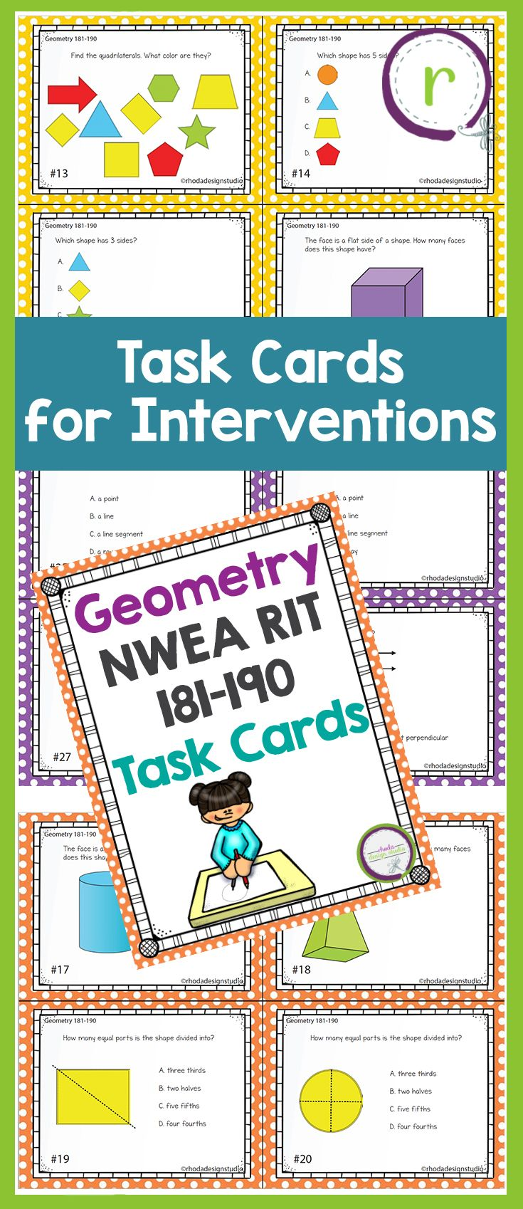 These task cards cover general Geometry questions and concepts.  Skills are for the NWEA RIT Band 181-190: Geometry include: defining coordinates, sides, angles, visualizing new shapes, naming 2D shapes, faces and sides of 3D shapes, parallel and perpendicular lines, and lines of symmetry.  These can be used as review, for test prep, independent centers, or to assess skills that your students need to master. 3rd and 4th grade math. teacher resources