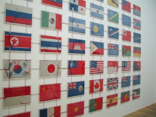 You probably can't tell, but each of these flags was made of colored sand and ants were traveling the tubes between them, transporting the sand between flags. From Tate Modern, London.